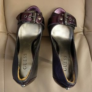 Guess peep toe pumps with buckle size 5